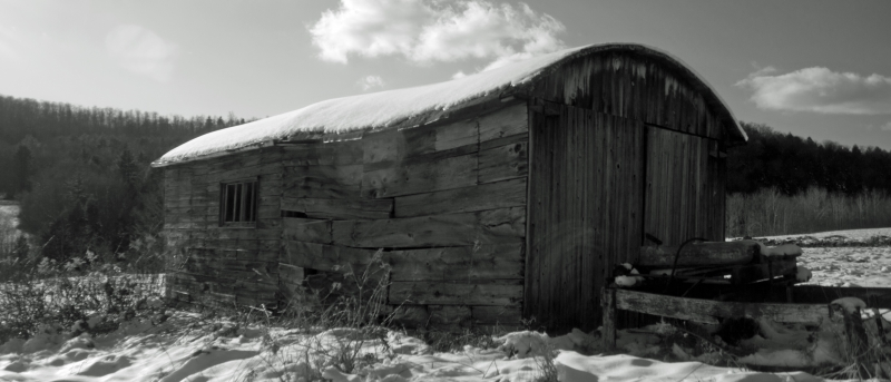 Old Barn Blues In Black And White