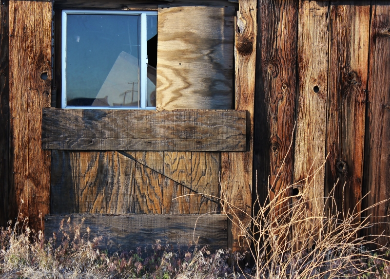 Boarded Building Along Us Hwy 395