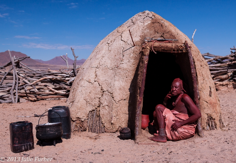 Himba Women And Hut