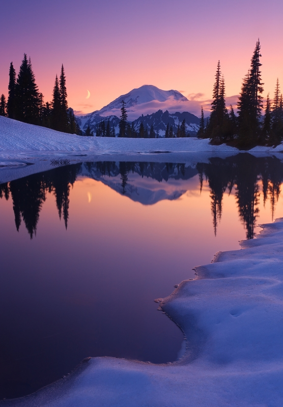 Twilight, Tarn And Crescent Moon, Mount Rainier