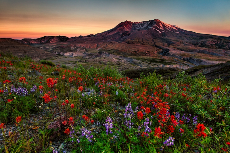 Summer Sunset At Mt. St. Helens