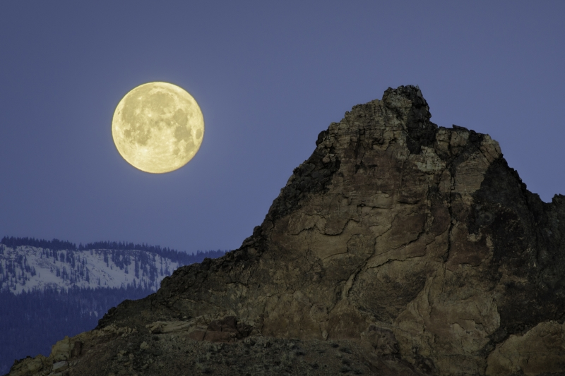 Moonset Over A Volcanic Dike