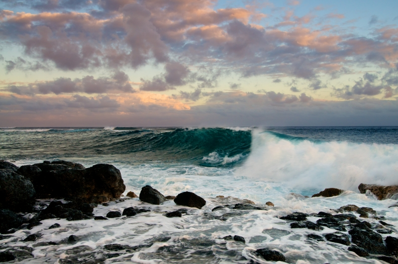 Waves At Sunset In Poipu