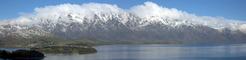 Remarkables Range Above Lake Wakatipu In Queenstown, New Zealand