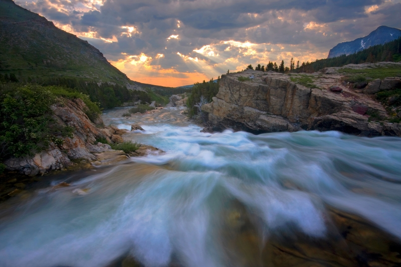 Swiftcurrent Falls Sunrise
