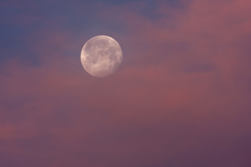 Moon And Sunrise Clouds
