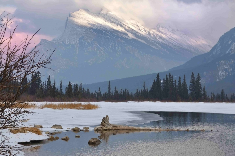 Mt. Rundle In Winter, From Vermilion Lake