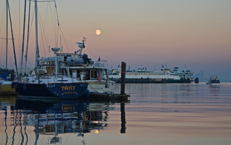 Eagle Harbor Fall Evening Moon