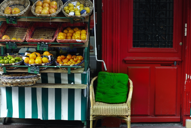 Paris Vegetable Vendor In Red And Green