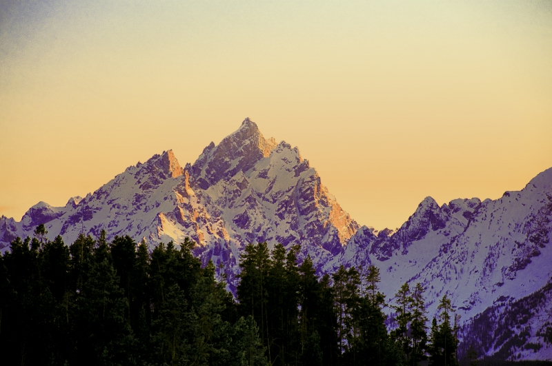 Sun Setting On The Tetons