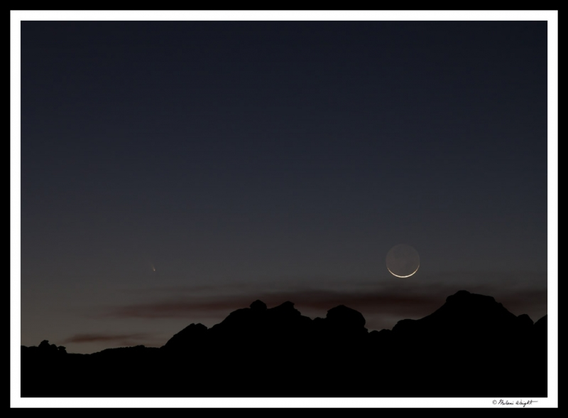 Comet Panstarrs With Setting Moon