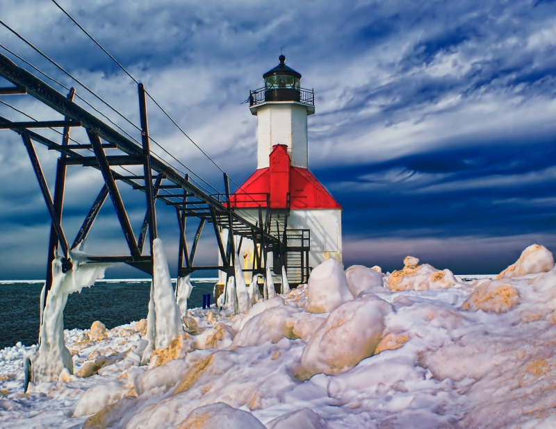 St Joseph Lighthouse In Winter