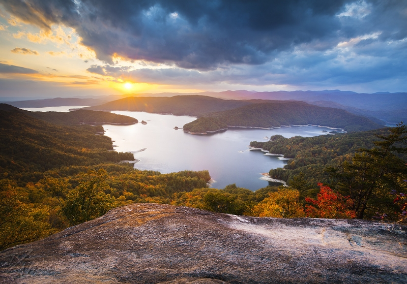 Blue Ridge Mountains Sunset – Jocassee Gold