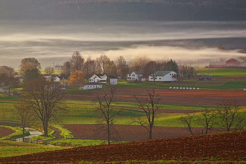 Spring Fog Over Central Pennsylvania Village