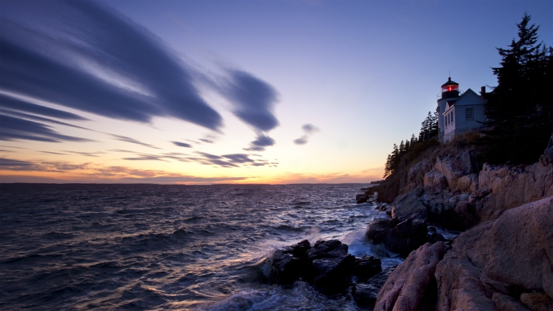 Bass Harbor Light House At Dusk