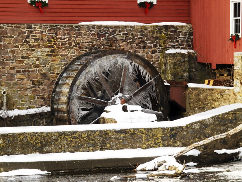Old Mill Wheel Frozen