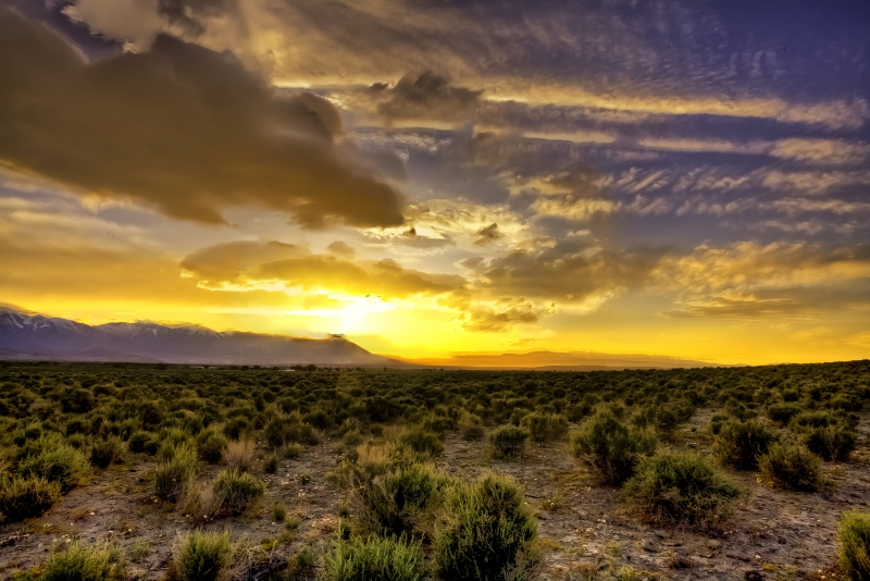 Sunset Clouds Over Owens Valley California