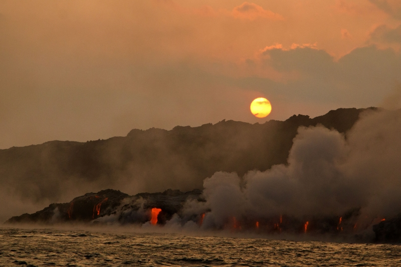 Sunset Over Lava