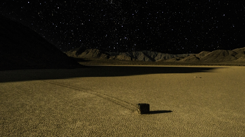 Starlight Over The Death Valley Racetrack Playa