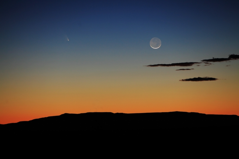 Comet Panstarrs And The Crescent Moon