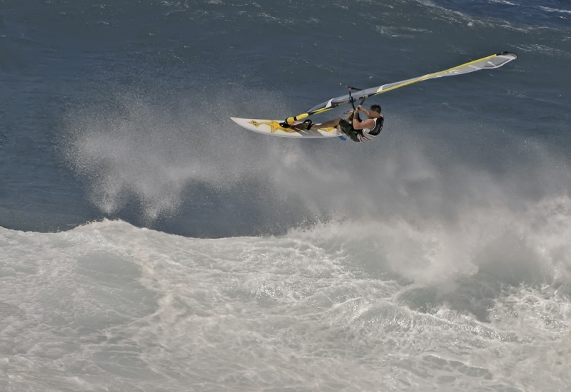 Sailboarder On Monster Wave Hoopika Beach