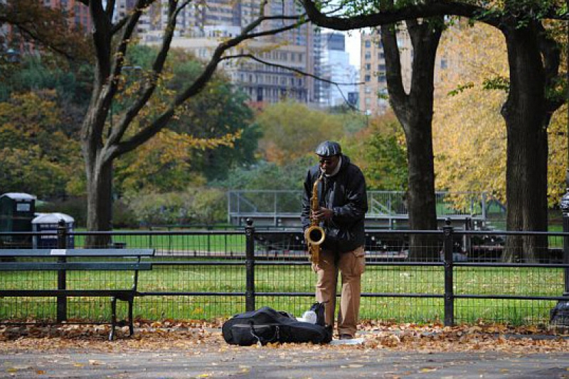 Sax Player In Central Park