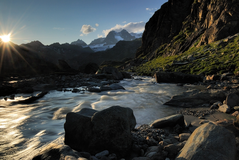 Poschiavino River  At Sunset (valposchiavina, Valmalenco, Valtelline)