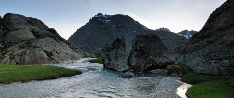 Poschiavino River And Sasso Nero In The Dusk (valposchiavina, Valmalenco, Valtelline)