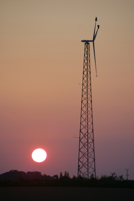 Wind-less Windmill At Sunset