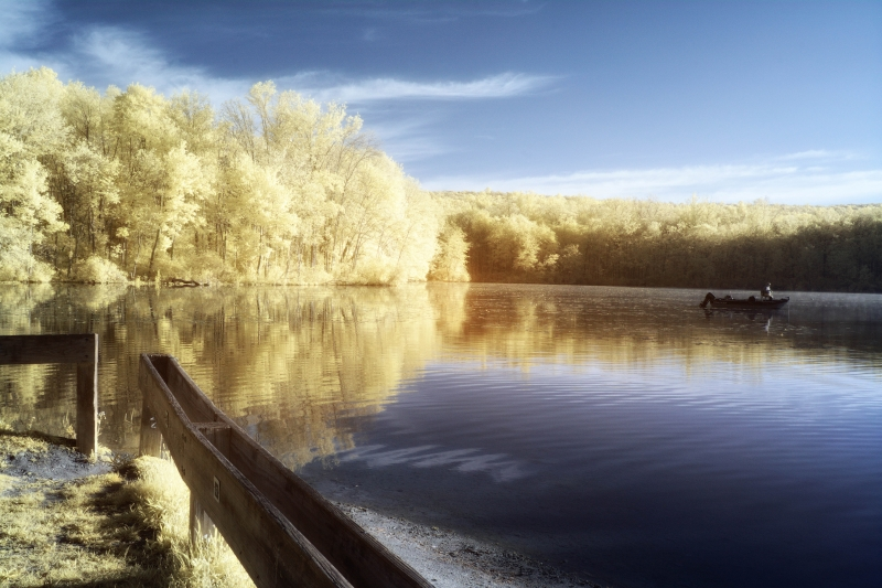 Fishing At Dawn-infrared
