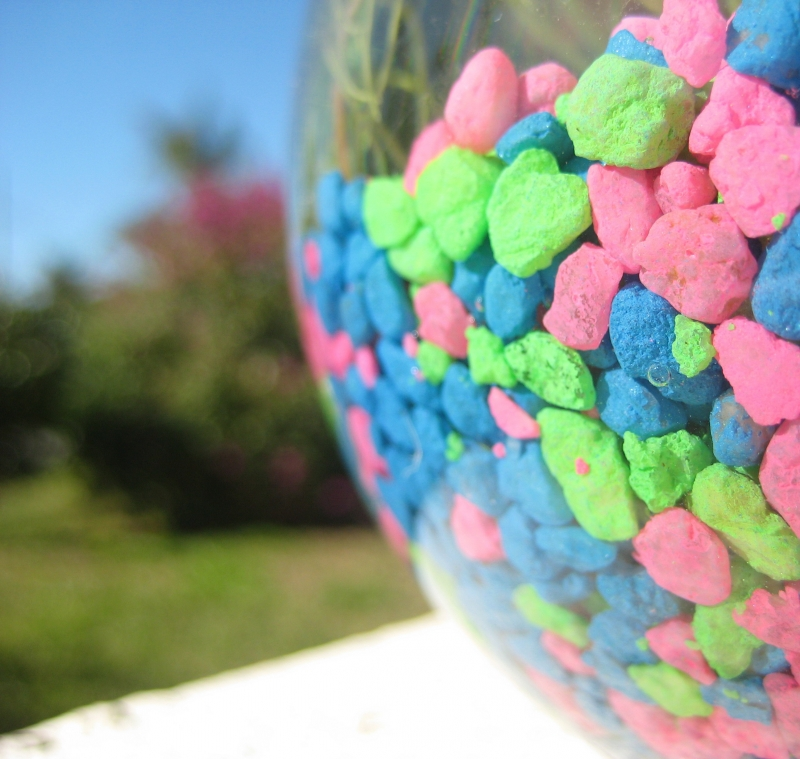 Colorful Rocks In A Vase On The Front Porch