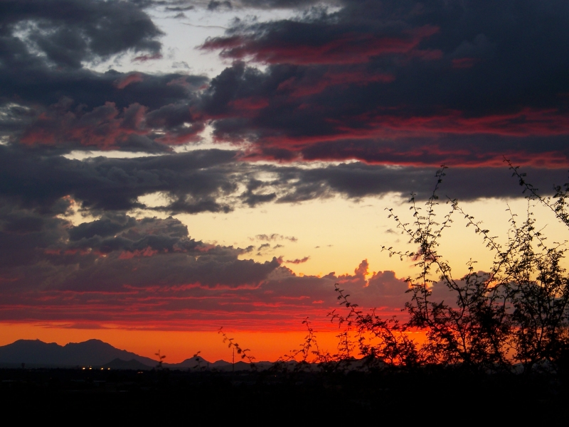 Sunset Over The Tucson Mountains