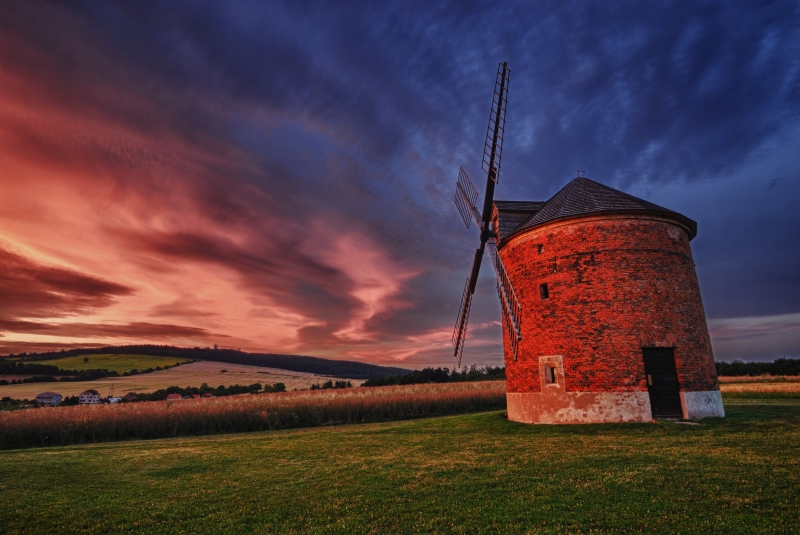 Chvalkovice Wind Mill After Sunset
