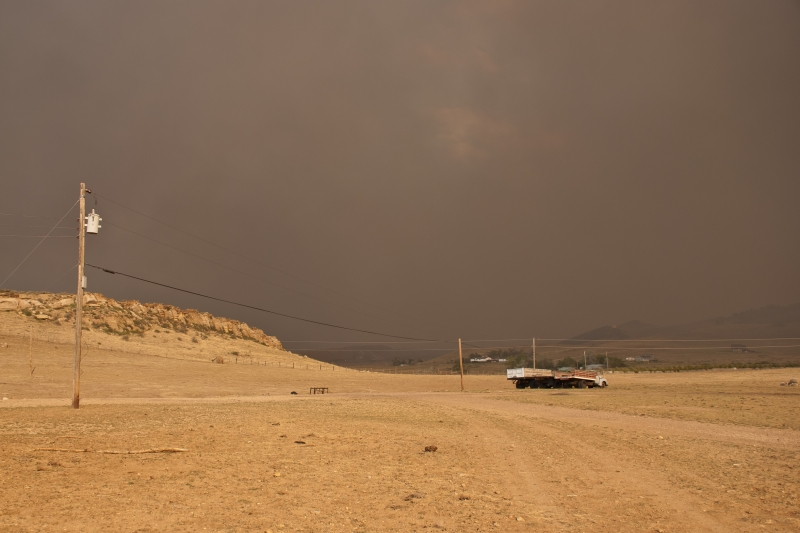 Wildfire Smoke Cloud Over A Colorado Ranch.