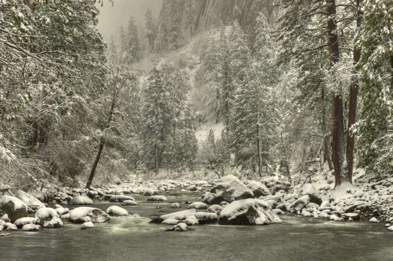 Snow On The Merced River