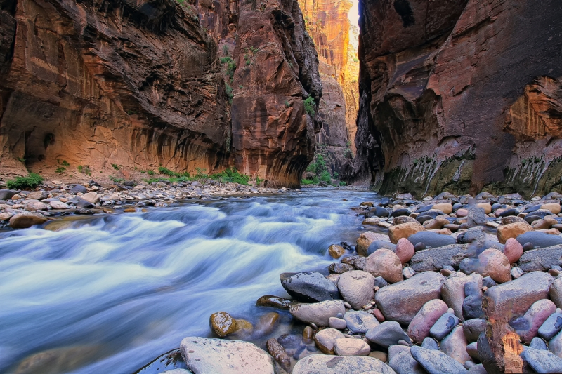 Virgin River Flow In Narrows, Zion National Park