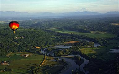 Hot Air Ballooning Over Snohomish Valley