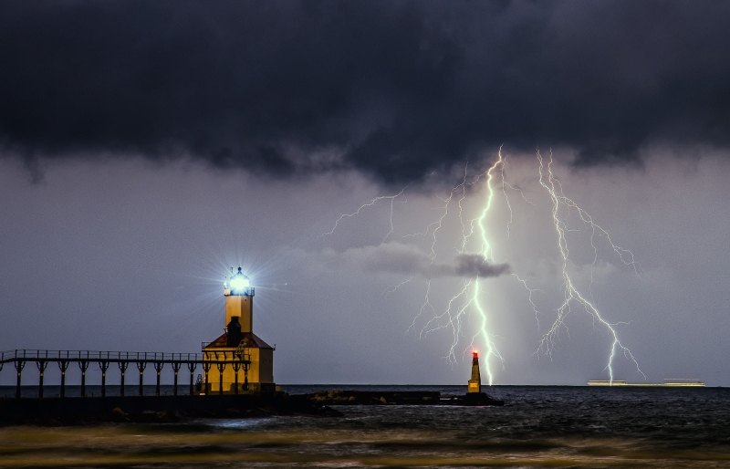 Lightning Over The Lighthouse