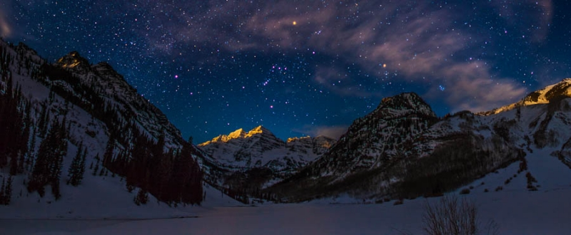 Winter Moonrise At The Maroon Bells