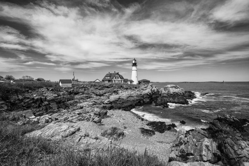Portland Head Light Black & White