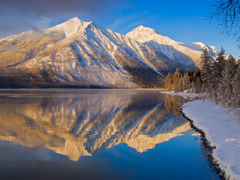 Mcdonald Lake Winter Landscape
