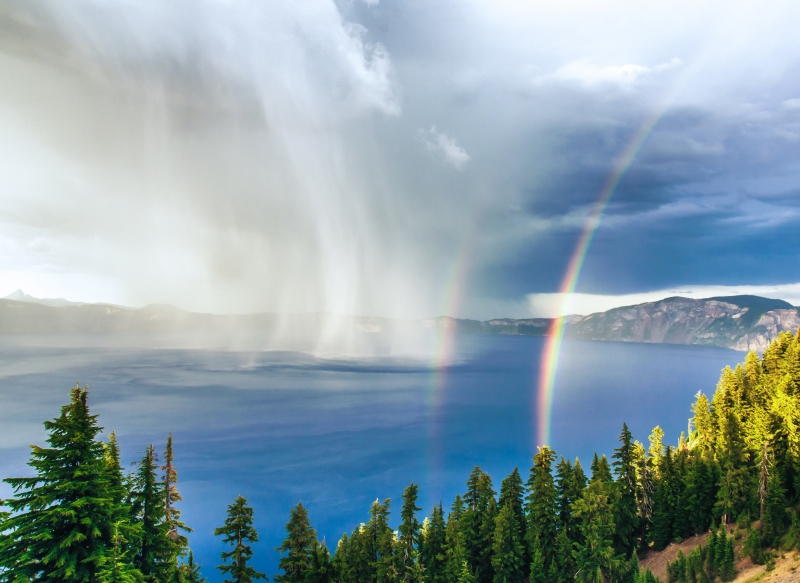 Storm At Sunset With Double Rainbow, Crater Lake