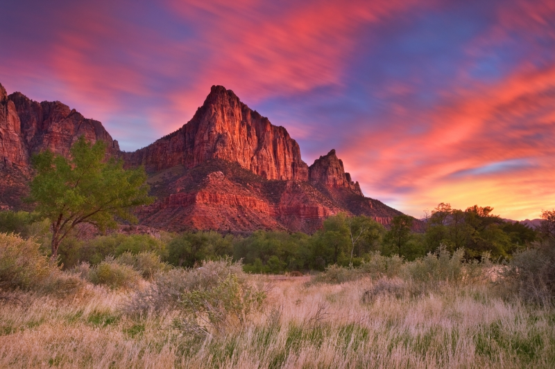 Sunset Over Watchman Mountain