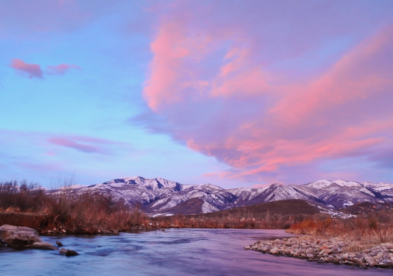 Middle Provo River At Sunrise