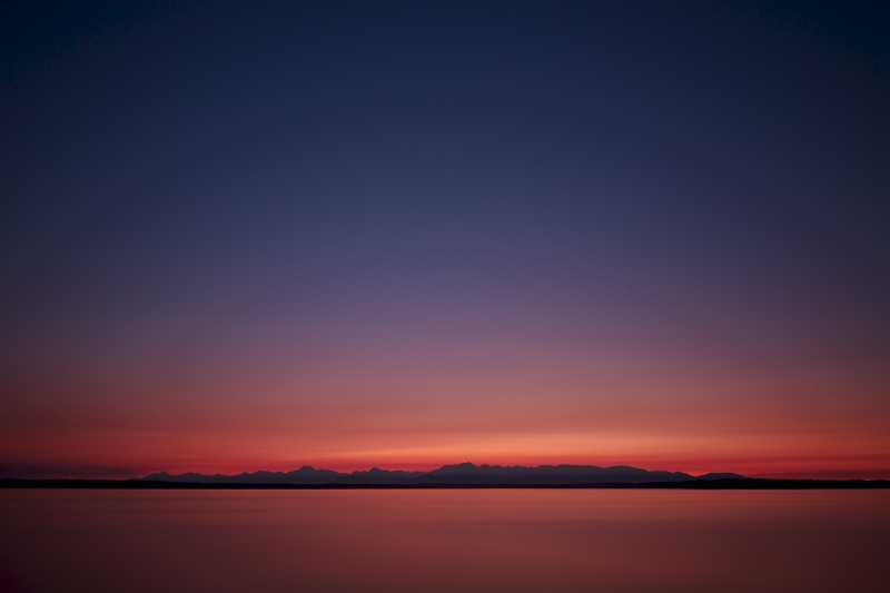 Olympic Mountains At Dusk