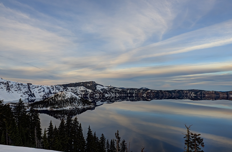 Sunset On Wizard Island In Crater Lake National Park