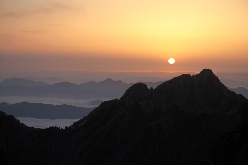 Huangshan Sunrise Over Sea Of Clouds