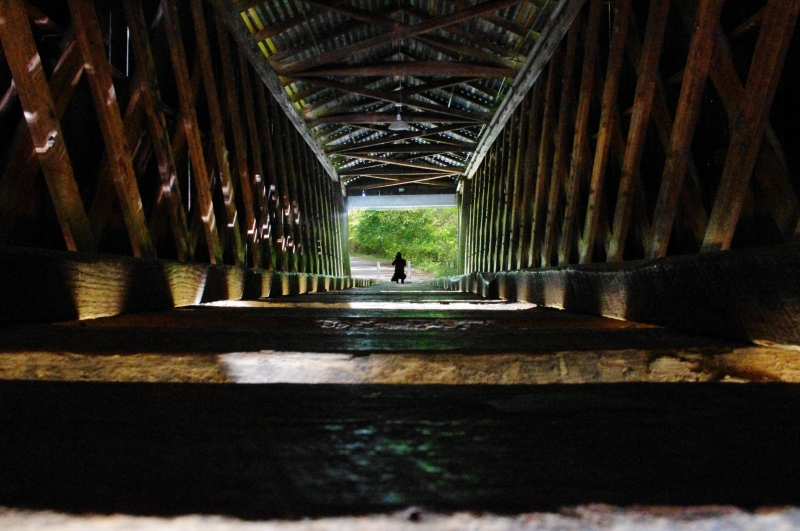 Inside Euharlee Covered Bridge