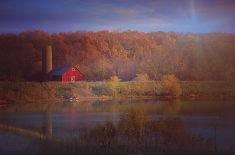 Red Barn By Morning