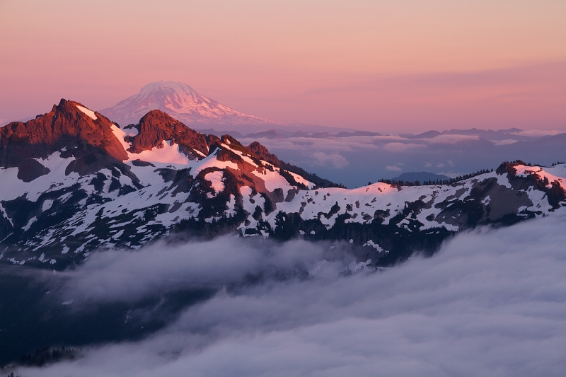 Mount Adams And The Tatoosh Range At Sunset